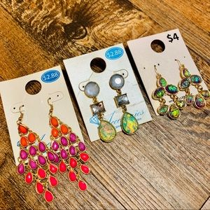 ✅FASHION JEWELRY: Set of 3 Earring Pairs✅